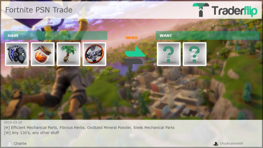 Charlie Wants to Trade Fortnite Items