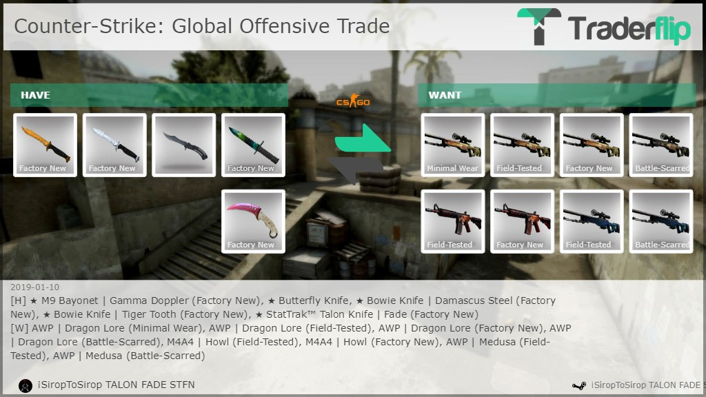 SiropToSirop TALON FADE STFN Wants to Trade Counter-Strike